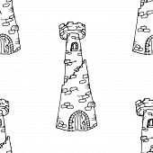 Seamless Pattern Of A Stone Tower. Vector Illustration Of A Seamless Stone Tower Background. Hand Dr poster