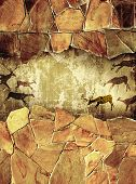 pic of cave-dweller  - Grunge background with drawings of the primitive person - JPG