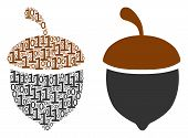 Oak Acorn Mosaic Icon Of Zero And Null Digits In Variable Sizes. Vector Digit Symbols Are Combined I poster