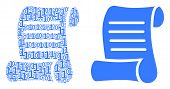 Script Roll Composition Icon Of Binary Digits In Randomized Sizes. Vector Digit Symbols Are Arranged poster