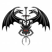 Vector Image Of Two Dragons, Knightly Sword And Helmet. Dragon Warrior. Demon Knight. Black Tribal T poster