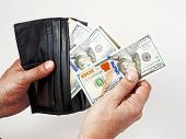 Wallet With Us Dollars In The Hands , A Hand Holding An Money With Leather Brown Wallet, Counting Do poster