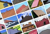 A Collage Of Many Pictures With Fragments Of Various Types Of Roofing. Set Of Images With Roofs poster