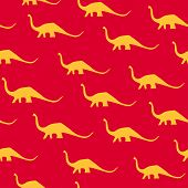 Dinosaur Brachiosaurus Silhouette Pattern Seamless. Vector Illustration. Orange Dinosaurs On Red Bac poster