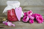 Jam With Rose Petals. Pink Jam In A Jar, Decorative Heart And Roses On A Wooden Table. poster