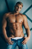 Young Sexy Muscular Man  In A Studio poster