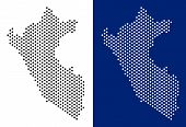 Dot Peru Map. Vector Geographic Map On White And Blue Backgrounds. Vector Mosaic Of Peru Map Created poster