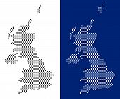 Dot United Kingdom Map. Vector Geographic Map On White And Blue Backgrounds. Vector Mosaic Of United poster