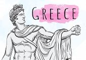 God Apollon. The Mythological Hero Of Ancient Greece. National Treasure. Antiquity. Hand-drawn Beaut poster