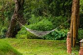 White Hammock Hanging Between Trees Above The Lawn In The Middle Of The Garden For Relaxing Tired. T poster