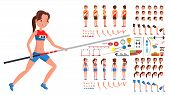 Athletics Player Male, Female Vector. Athlete Animated Character Creation Set. Man, Woman Full Lengt poster