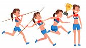 Athletics Player Female Vector. Competition Concept. Energetic People. High Jump. Doing Different Tr poster