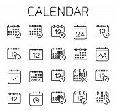 Calendar Related Vector Icon Set. Well-crafted Sign In Thin Line Style With Editable Stroke. Vector  poster