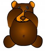Cute Vector Bear Covering Eye, Peek-A-Boo, See No Evil