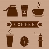A Cup Of Coffee, A Coffee Pot, A Coffee Grinder, A Grain Of Coffee. Glass In A Flat Style. Coffee Ic poster