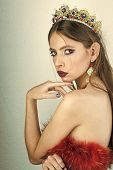 Queen Of Glamor. Luxury Of Woman In Crown And Earrings Jewelry. Makeup For Woman With Soft Skin, Ele poster