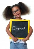 Cute african american girl with glasses holding a sign with a famous physics formula - Isolated on w poster