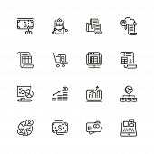Administration Icons. Set Of Line Icons. Report, Accounting, Credit Card. Administration Concept. Ve poster