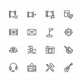 Leisure Icons. Set Of  Line Icons. Swimming Pool, Camera, Paints. Entertainment Concept. Vector Illu poster