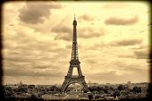 Panorama Eiffel Tower In Paris. France. Vintage View. Tour Eiffel Old Retro Style. poster