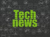 News Concept: Painted Green Text Tech News On Black Brick Wall Background With Scheme Of Hand Drawn  poster