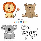 Cute Hand Drawn Vector Sketch Of A Cute Animals. Vector Illustration. poster