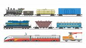 Train Vector Railway Transport Locomotive Or Wagon And Subway Or Metro Transportation Illustration S poster