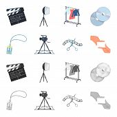 Badge, Operator Gesture And Other Accessories For The Movie. Making Movie Set Collection Icons In Ca poster