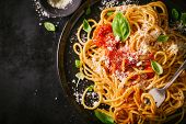 Tasty Appetizing Classic Italian Spaghetti Pasta With Tomato Sauce, Cheese Parmesan And Basil On Pla poster
