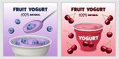 Yogurt Box Tasty Banner Concept Set. Realistic Illustration Of 2 Yogurt Box Tasty Vector Banner Hori poster