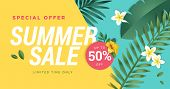 Summer Sale Vector Illustration For Mobile And Social Media Banner, Poster, Shopping Ads, Marketing  poster