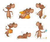 Various Characters Of Mice In Action Poses. Mouse Animal, Rat Rodent Cheerful With Cheese, Vector Il poster