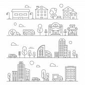 Line Urban Landscapes. Set Of Various City Buildings. Urban City Town Linear, Building House Archite poster