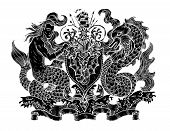 Hand Drawn Engraved Illustration With Mythology And Fantasy Creatures, Medieval Coat Of Arms poster