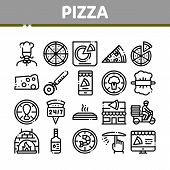 Pizza Delicious Food Collection Icons Set Vector Thin Line. Pizza With Seafood And Vegetable, With C poster