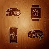Set Smart House And Light Bulb, Smart Home With Wi-fi, Mobile Phone With Smart House And Light Bulb  poster