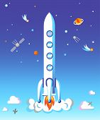 Rocket Take Off Flat Vector Illustration. Spaceship Launching Concept. Cartoon Satellites, Planets,  poster