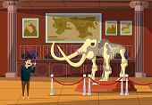 Mammoth Bones Exhibition Flat Vector Illustration. Paleontology Museum Visitor Cartoon Character. Ic poster