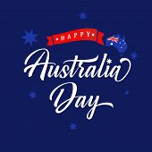 Happy Australia Day Lettering Blue Banner. Australian Map With Flag, Calligraphy And Red Ribbon On B poster