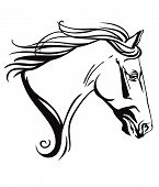 Decorative Monochrome Ornamental Contour Portrait Of Running Horse With Long Mane, Looking  In Profi poster