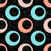 Blue Pink Circle Rings Textile Print. Round Shape Geometric Elements Vector Seamless Pattern. Circle poster