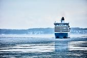Ferry To Scandinavia. Cruise Ship. Nature Of The Fjord And Ice. poster