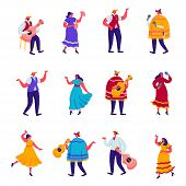 Set Of Flat Celebration Of A Traditional Mexican Holiday In Colorful Traditional Clothes Characters. poster