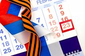 23 February Defender Of The Fatherland Day Greeting Card. Russian Flag, St. George Ribbon, Calendar poster