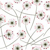 Dandelion Blowing Plant Vector Floral Seamless Pattern. Lovely Flowers With Heart Shaped Petals. Dan poster