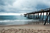 Old Fishing Pier In Frisco North Carolina Outer Banks Left In Ruins After A Hurricane. Pier Is Destr poster