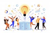 Team Idea And Business Startup Concept. Vector Flat Cartoon Illustration. Group Of Creative People I poster