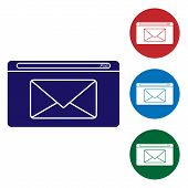 Blue Mail And E-mail Icon Isolated On White Background. Envelope Symbol E-mail. Email Message Sign.  poster