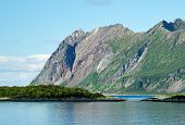 Scenic Mountain View In Mountainous Summer Terrain In Northern Norway. Senja Island, Troms County -  poster
