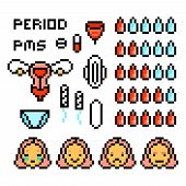 Set Of Pixel Art Menstruation Icons Isolated On White. 8 Bit Period Calendar/tracker Symbols. Blood  poster